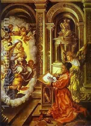 St Lucas Painting Madonna 1520 by Jan (Mabuse) Gossaert - Reproduction Oil Painting