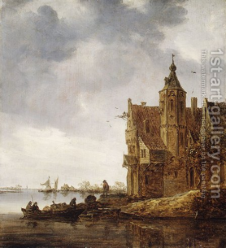 Country House near the Water 1646 by Jan van Goyen - Reproduction Oil Painting