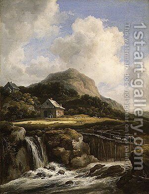 Mountain Torrent probably 1670s by Jan van Goyen - Reproduction Oil Painting