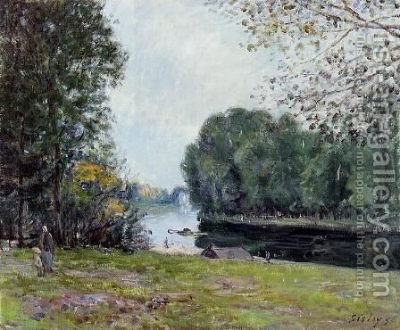 A Bend in the Loing, Sunlighjt  1896 by Alfred Sisley - Reproduction Oil Painting