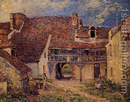 Courtyard of a Farm at Saint-Mammes  1884 by Alfred Sisley - Reproduction Oil Painting