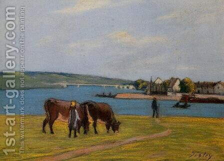 Cows by the Seine at Saint-Mammes  1895 by Alfred Sisley - Reproduction Oil Painting