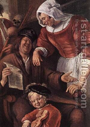 A Merry Party Detail I 1660 by Jan Steen - Reproduction Oil Painting