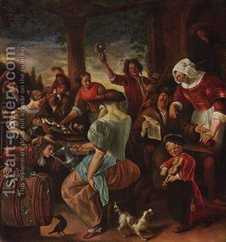 Cat Family by Jan Steen - Reproduction Oil Painting