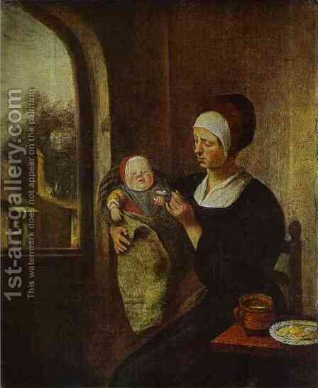 Mother And Child by Jan Steen - Reproduction Oil Painting