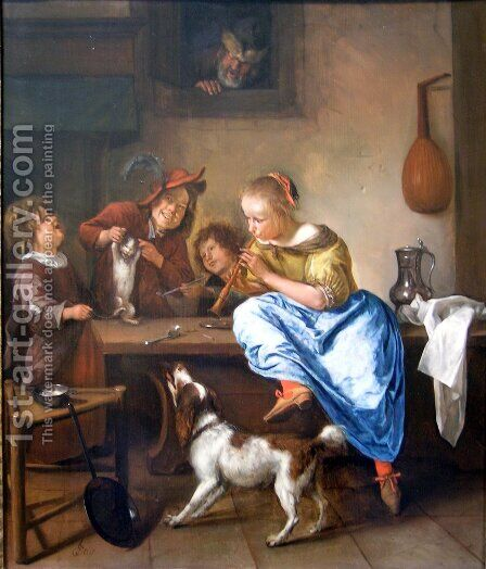 The Dancing Lesson by Jan Steen - Reproduction Oil Painting