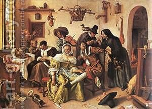 The Droll Farm 1663 by Jan Steen - Reproduction Oil Painting