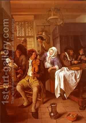 Interior Of A Tavern by Jan Steen - Reproduction Oil Painting