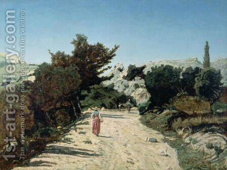 Route de la Gineste near Marseilles 1859 by Antoine-Jean Gros - Reproduction Oil Painting