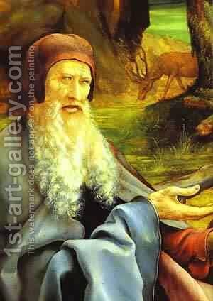 St Anthony Visiting St Paul the Hermit in the Desert detail by Matthias Grunewald (Mathis Gothardt) - Reproduction Oil Painting