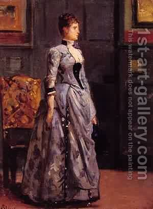 Portrait of a woman in blue by Aime Stevens - Reproduction Oil Painting