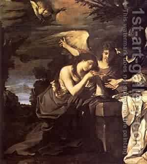 Magdalen And Two Angels 1622 by Guercino - Reproduction Oil Painting