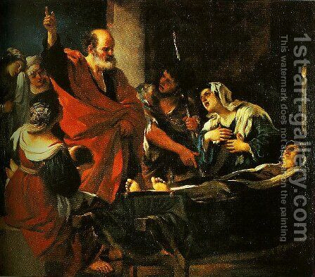 St Peter Revives Taitha by Guercino - Reproduction Oil Painting