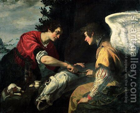 Tobias and the Archangel Raphael by Jacopo Vignali - Reproduction Oil Painting