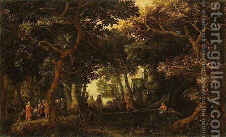 Forest Landscape with Two of Christs Miracles by David Vinckboons - Reproduction Oil Painting