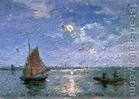 Fishing Boats by Moonlight by Alfred Wahlberg - Reproduction Oil Painting