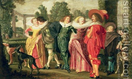 A Promenade in the Garden 1623 by Dirck Hals - Reproduction Oil Painting