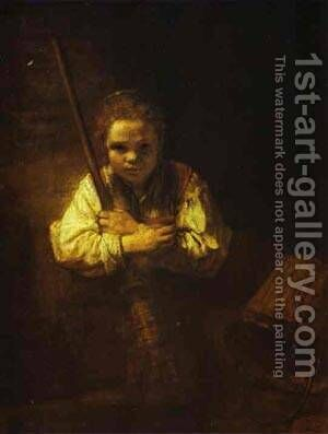 A Girl With A Broom 1651 by Harmenszoon van Rijn Rembrandt - Reproduction Oil Painting