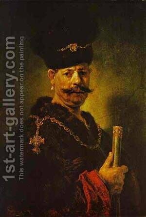 A Polish Nobleman 1637 by Harmenszoon van Rijn Rembrandt - Reproduction Oil Painting