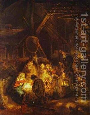 Adoration Of The Shepherds 1646 by Harmenszoon van Rijn Rembrandt - Reproduction Oil Painting