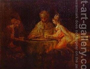 Assuerus Haman And Esther 1660 by Harmenszoon van Rijn Rembrandt - Reproduction Oil Painting