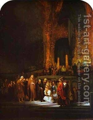 Christ And The Woman Taken In Adultery 1644 by Harmenszoon van Rijn Rembrandt - Reproduction Oil Painting