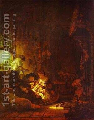 Holy Family 1640 by Harmenszoon van Rijn Rembrandt - Reproduction Oil Painting