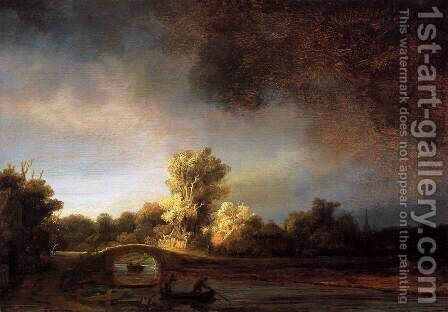 Landscape with a Stone Bridge 1638 by Harmenszoon van Rijn Rembrandt - Reproduction Oil Painting