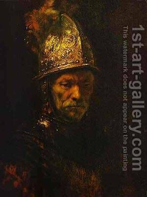Man In A Gold Helmet 1650 by Harmenszoon van Rijn Rembrandt - Reproduction Oil Painting
