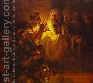 Peter Denying Christ 1660 by Harmenszoon van Rijn Rembrandt - Reproduction Oil Painting