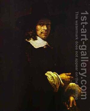 Portrait Of A Gentleman With A Tall Hat And Gloves 1660 by Harmenszoon van Rijn Rembrandt - Reproduction Oil Painting