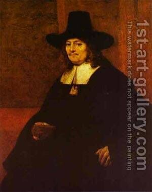 Portrait Of A Man In A Tall Hat 1662 by Harmenszoon van Rijn Rembrandt - Reproduction Oil Painting