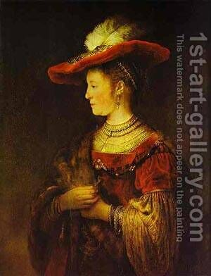 Portrait Of Saskia 1634 by Harmenszoon van Rijn Rembrandt - Reproduction Oil Painting