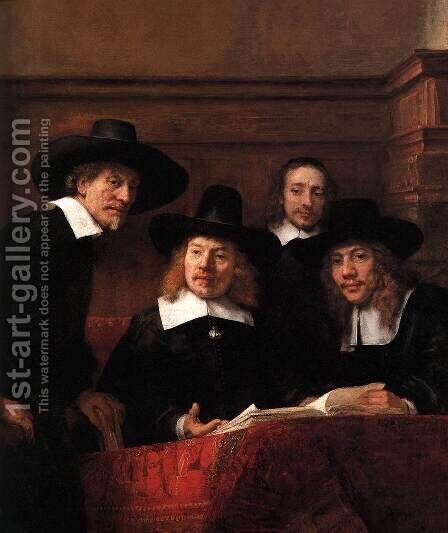 Sampling Officials of the Drapers' Guild (detail) 1662 by Harmenszoon van Rijn Rembrandt - Reproduction Oil Painting