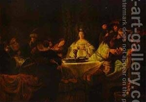 Samson Putting Forth His Riddles At The Wedding Feast 1638 by Harmenszoon van Rijn Rembrandt - Reproduction Oil Painting