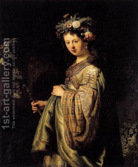 Saskia as Flora 1634 by Harmenszoon van Rijn Rembrandt - Reproduction Oil Painting