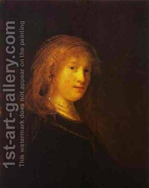 Saskia Van Uilenburgh The Wife Of The Artist 1633 by Harmenszoon van Rijn Rembrandt - Reproduction Oil Painting