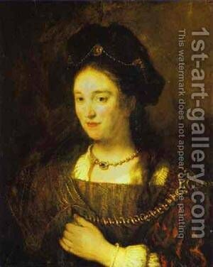 The Artists Wife Saskia 1643 by Harmenszoon van Rijn Rembrandt - Reproduction Oil Painting