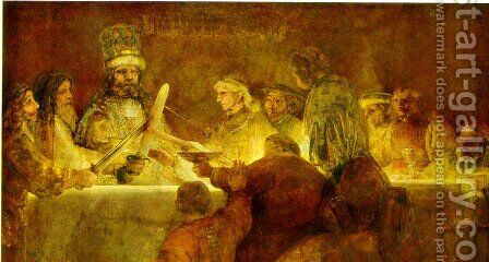 The Conspiracy Of Claudius (Or Julius) Civilis 1661 by Harmenszoon van Rijn Rembrandt - Reproduction Oil Painting