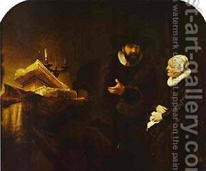 The Mennonite Minister Cornelius Claeszoon Anslo In Conversation With His Wife Aaltje 1641 by Harmenszoon van Rijn Rembrandt - Reproduction Oil Painting