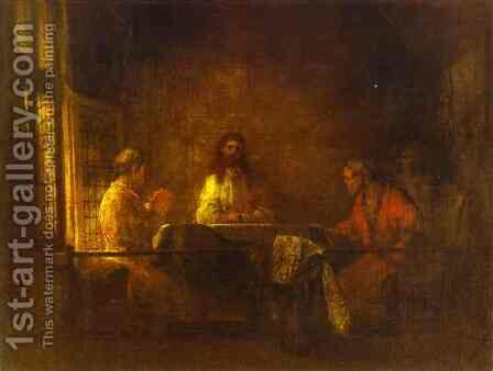 The Pilgrims At Emmaus by Harmenszoon van Rijn Rembrandt - Reproduction Oil Painting