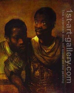 Two Negroes 1661 by Harmenszoon van Rijn Rembrandt - Reproduction Oil Painting