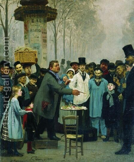 A Newspaper Seller In Paris 1873 by Ilya Efimovich Efimovich Repin - Reproduction Oil Painting