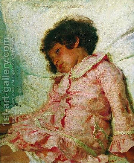Portrait Of Nadya Repina The Artists Daughter 1881 by Ilya Efimovich Efimovich Repin - Reproduction Oil Painting