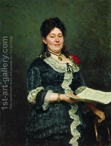Portrait Of The Singer Alexandra Molas 1883 by Ilya Efimovich Efimovich Repin - Reproduction Oil Painting