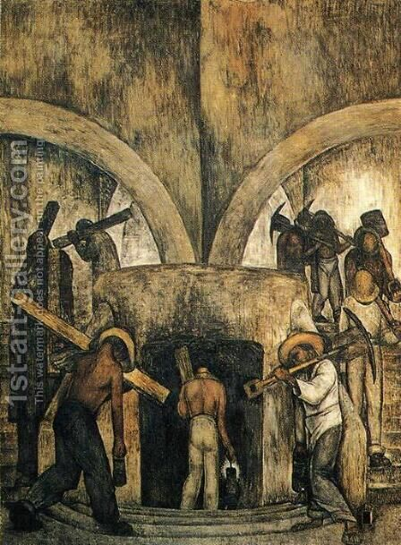 Entry into the Mine (Entrada a la mina) 1923 by Diego Rivera - Reproduction Oil Painting