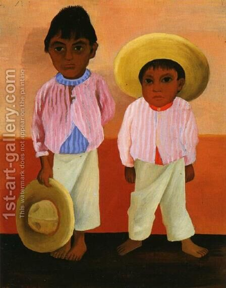 My Godfathers Sons Portrait of Modesto and Jesus Sanchez (Los hijos de mi compadre Retratos de Modesto y Jesus Sanchez) 1930 by Diego Rivera - Reproduction Oil Painting