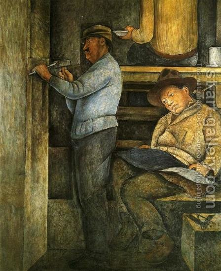 Political Vision of the Mexican People The Painter the Sculptor and the Architect 1923 to 1928 by Diego Rivera - Reproduction Oil Painting