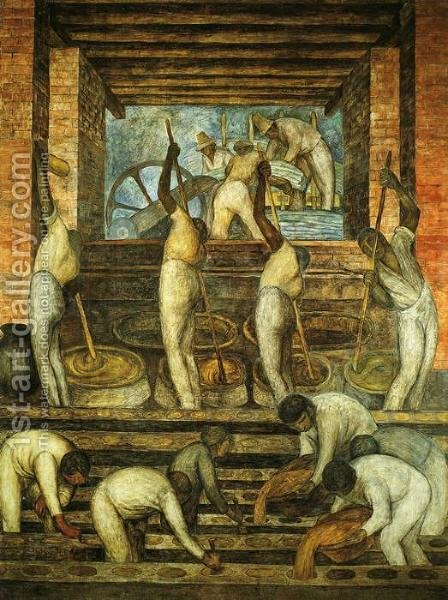 Political Vision of the Mexican People The Sugar Mill (El trapiche) 1923 Fresco Ground floor north wall Ministry of Public Education Mexico City by Diego Rivera - Reproduction Oil Painting