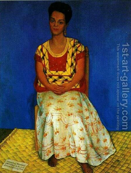 Portrait of Cuca Bustamante (Retrato de Cuca Bustamante) 1946 by Diego Rivera - Reproduction Oil Painting